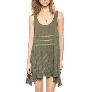 Free People Voile Trapeze Green Slip Dress Medium